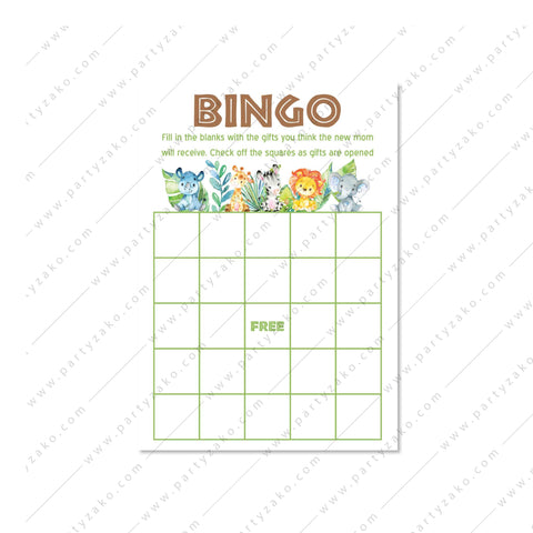 Safari Baby Shower Bingo