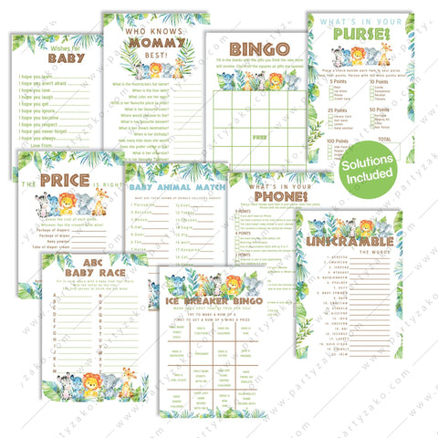Safari Baby Shower Games Bundle