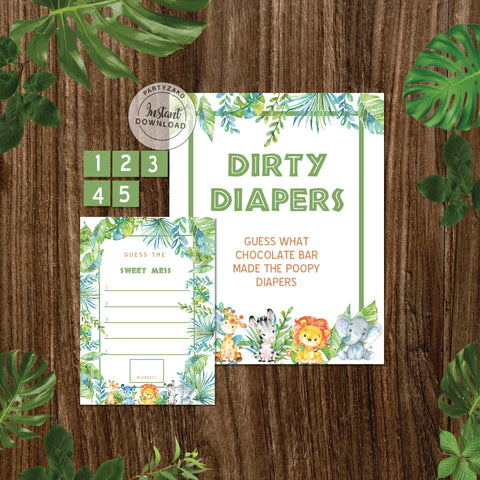 Safari Baby Shower Dirty Diapers