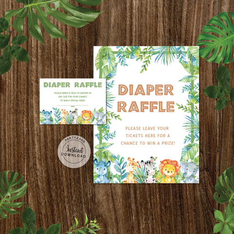 Safari Baby Shower Diaper Raffle