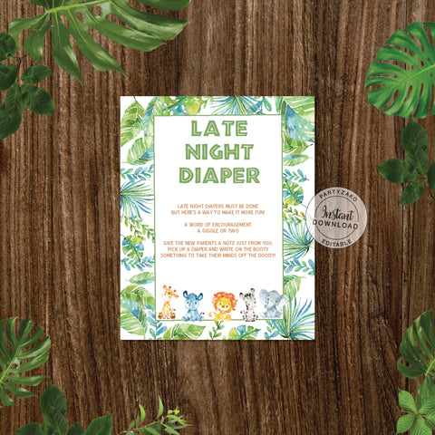 Safari Baby Shower Late Night Diapers