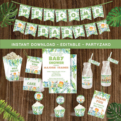Safari Baby Shower Printable Decor Kit