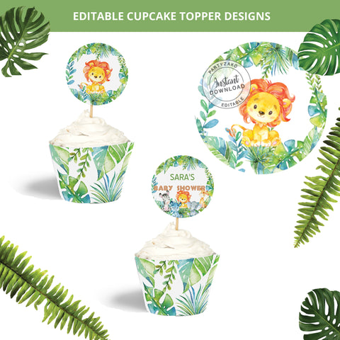 Safari Cupcake Topper and Wrapper