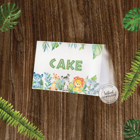 Safari Buffet Label / Food Card