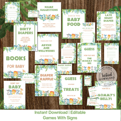 Safari Baby Shower games and posters