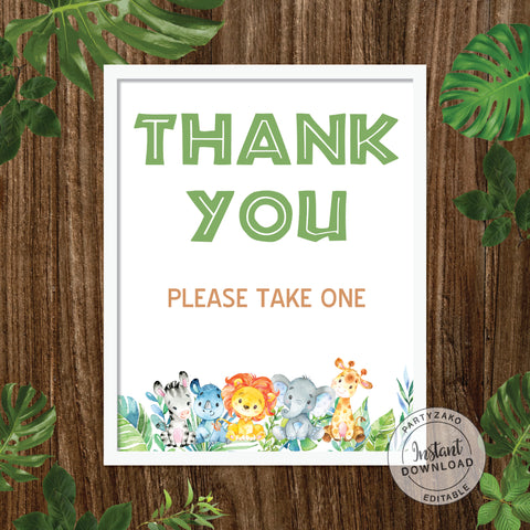 Thank You Sign - Safari Baby Shower