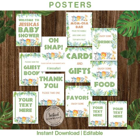 Safari Baby Shower Posters