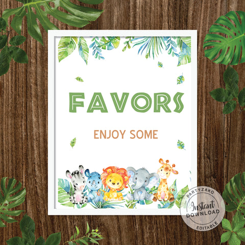 Favor Sign - Safari Baby Shower