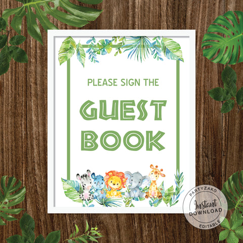 Guest book sign - Safari Baby Shower