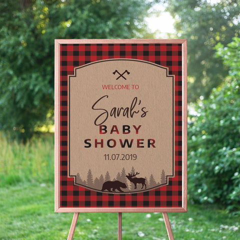Lumberjack Baby Shower Welcome Sign