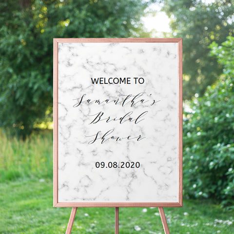 Marble Bridal Shower Welcome Sign