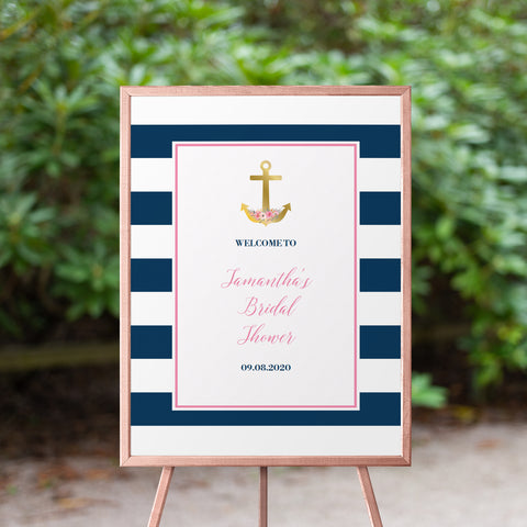 Nautical Bridal Shower Welcome Sign