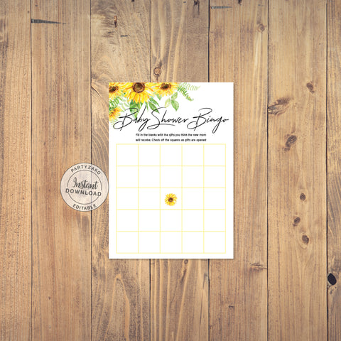 Sunflower Baby Shower Bingo
