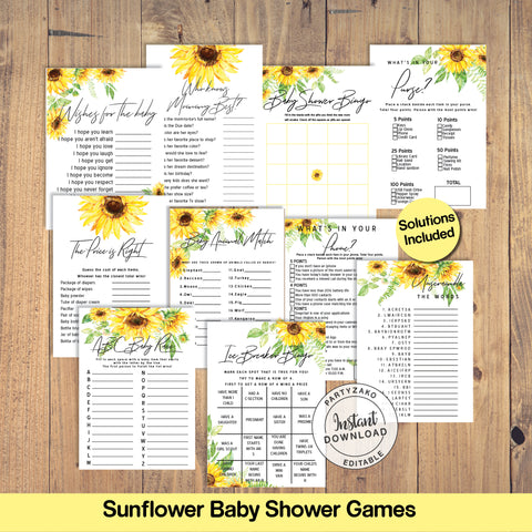 Sunflower Baby Shower Games Bundle