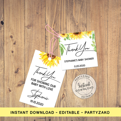 Sunflower Favor Tags