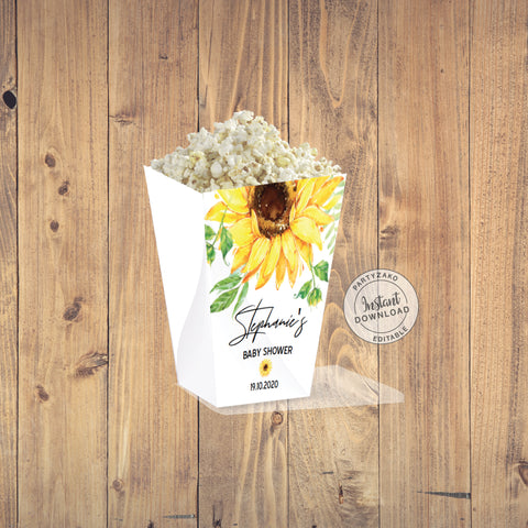 Sunflower Popcorn Box