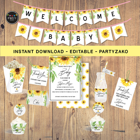 Sunflower Baby Shower Printable Decor Kit