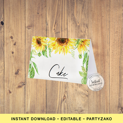 Sunflower Buffet Label / Food Card