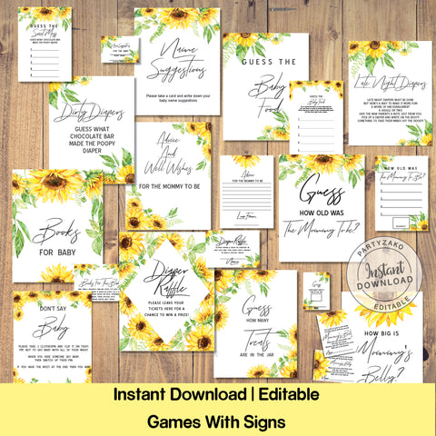 Sunflower Baby Shower games and posters