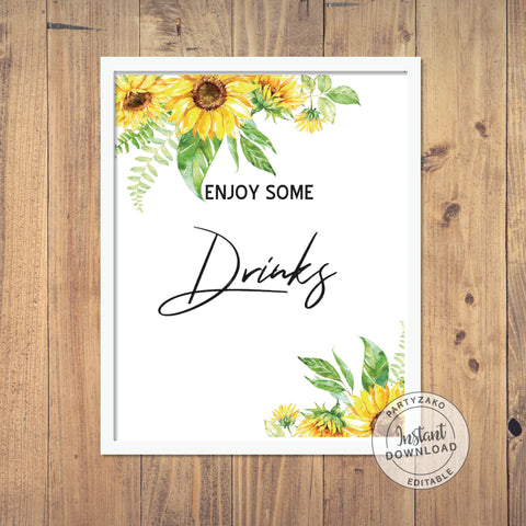 Drinks Sign - Sunflower Baby Shower