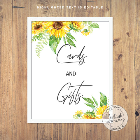 Cards Sign - Sunflower Baby Shower