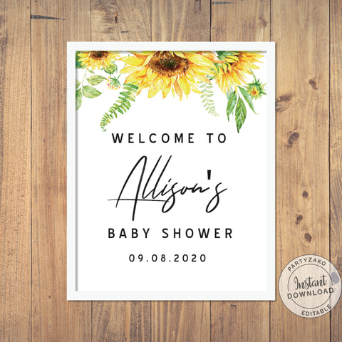 Welcome Sign Sunflower Baby Shower