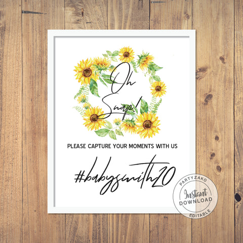 Oh Snap sign Sunflower Baby Shower