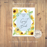 Guest book sign - Sunflower Baby Shower