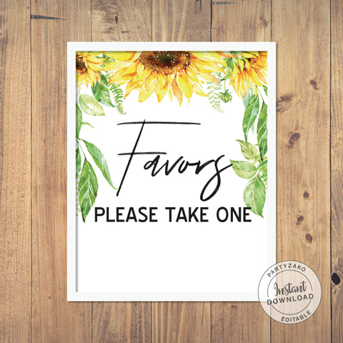 Favors sign - Sunflower Baby Shower