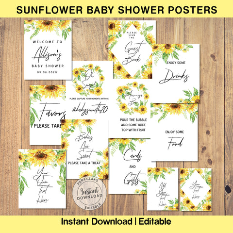 Sunflower Baby Shower Posters