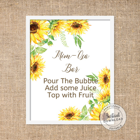 Sunflower Bridal Shower - Mimosa Bar Sign - Editable