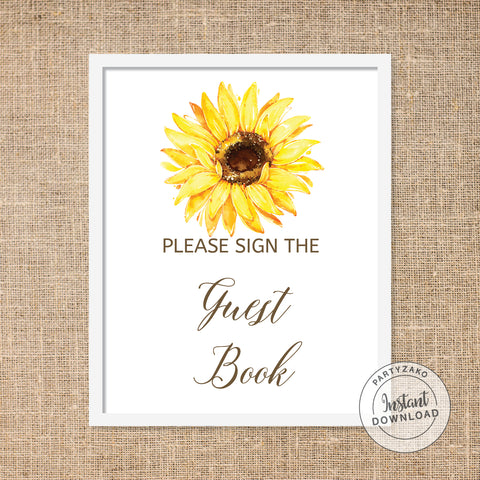 Sunflower Guest Book Poster