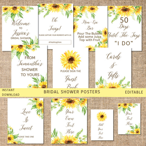 Sunflower Bridal Shower Posters