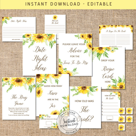 Sunflower Bridal shower Games Bundle II