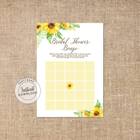 Sunflower Bridal shower Bingo