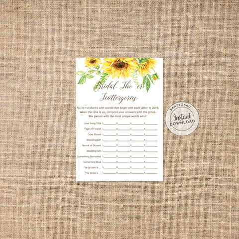 Sunflower Bridal Shower Scattergories