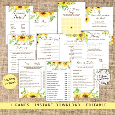 Sunflower Bridal Shower Game Bundle