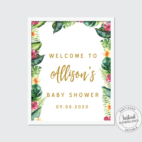 Welcome Sign Tropical Baby Shower