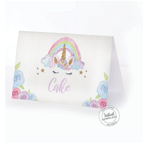 Unicorn Buffet Label / Food Card