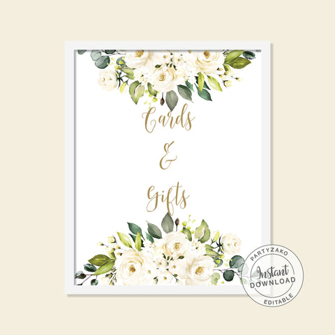 White Floral Cards & Gifts Poster