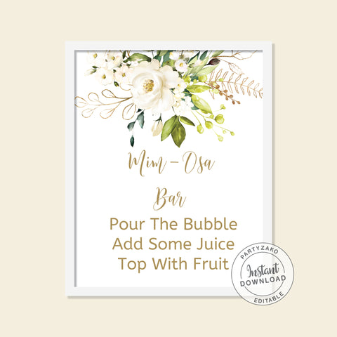 White Floral Bridal Shower - Mimosa Bar Sign - Editable
