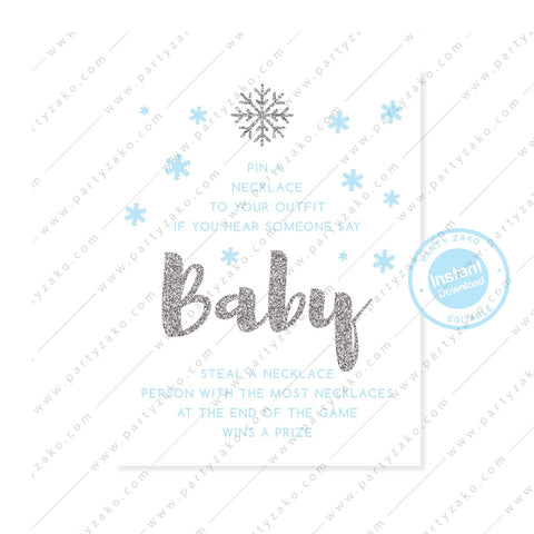 Winter Baby Shower Don't Say Baby
