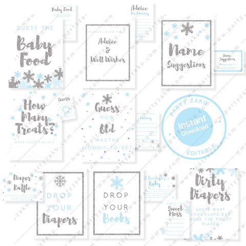 Winter Baby Shower games and posters