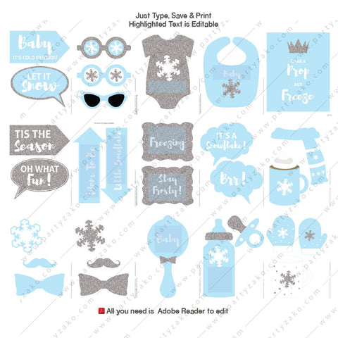 Printable Winter Baby Shower Props