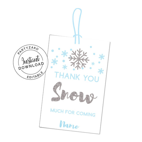 Winter Favor tags - Thank you Snow Much - Favor Tags
