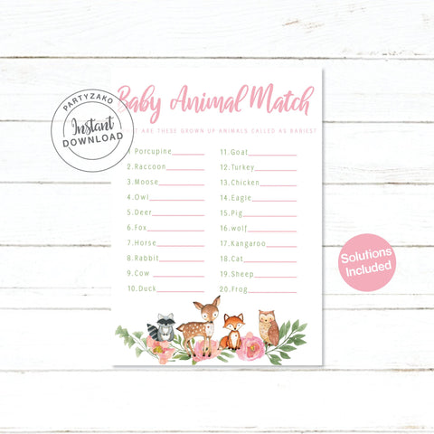 Girl Woodland Baby Animal Match