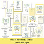 Yellow Elephant Baby Shower games and posters