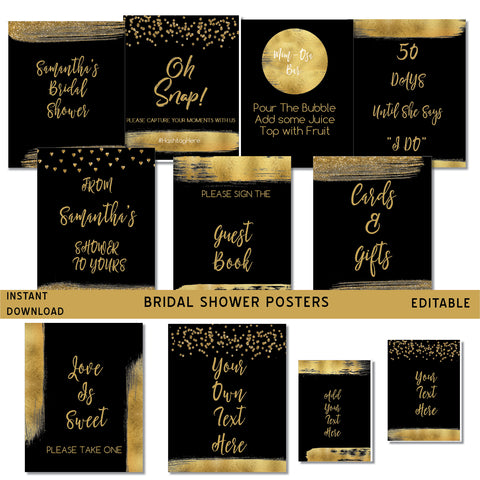 Black and Gold Bridal Shower Posters
