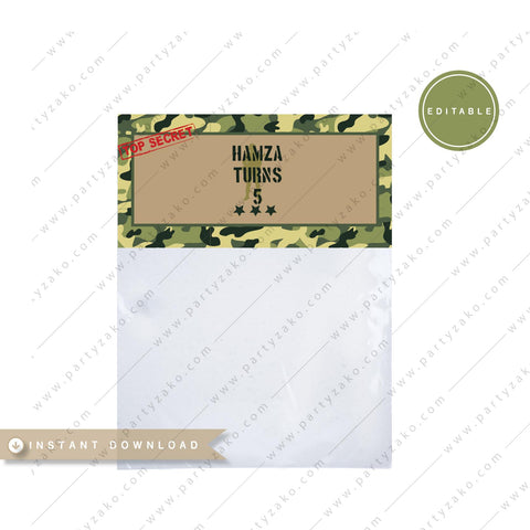 Army camouflage treat bag topper