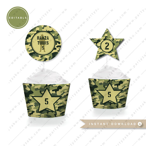 camo army printable cupcake topper